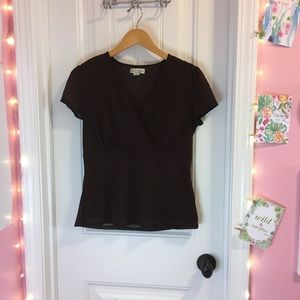 Brown Wrap Style Top - Casual Corner